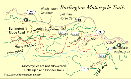 map of Burlington Motorcycle trails, Tahoe National Forest, CA