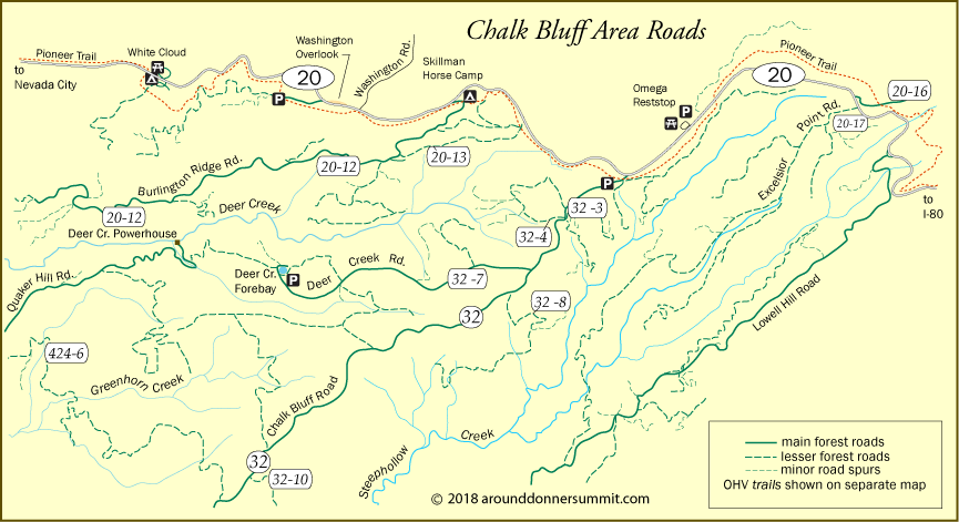 map roads in Chalk Bluff area, Tahoe National Forest, CA