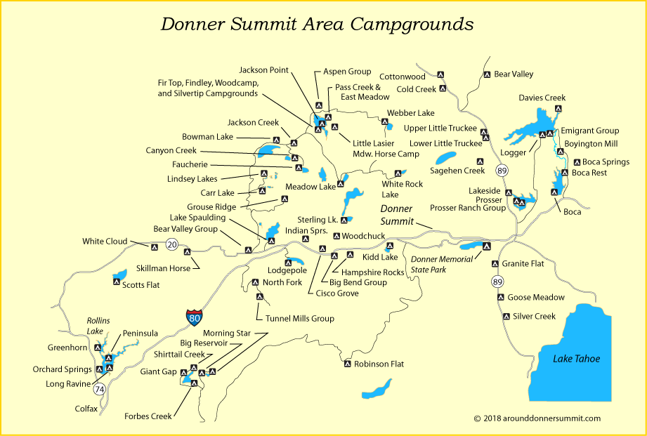 Campgrounds In California Map.Donner Summit Campgrounds