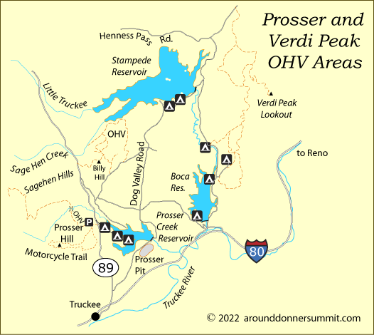 map of Prosser Hill and Verdi Peak OHV areas, Tahoe National Forest, CA