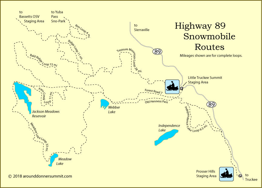 map of snowmobile routes at Little Truckee Summit, Tahoe National Forest, CA