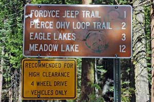 Sign to Fordyce OHV area, Tahoe National Forest CA