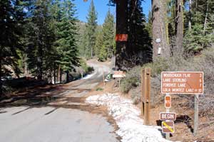 entrance to Rattlesnake Road, Tahoe National Forest CA