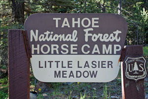 Sign at Little Lasier Meadows Horse Camp, Jackson Meadows Reservoir, CA