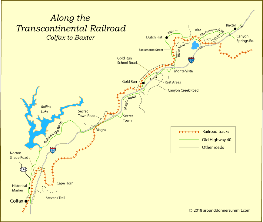 Donner Pass Map Transcontinental Railroad over Donner Pass